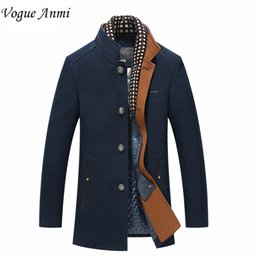 Wholesale Male Wool Overcoat - Wholesale- Vogue Anmi.Man trench coat wool coat Winter peacoat Men's wool Coat mens overcoat men's coats male clothing With Scarf ,M-3XL
