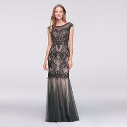 Wholesale Intricate Beading - NEW! Appliqued Illusion Mermaid Evening Gown with Tulle Skirt 57986D Intricate Appliques Lace Black Prom Dresses vestidos de fiesta largos