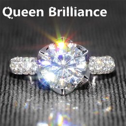 Wholesale Real Solid Gold Wedding Ring - Queen Brilliance 2 Ct F Color Moissanite Diamond Engagement Wedding Ring With Real Diamonds Accents Solid 14K 585 White Gold 17903