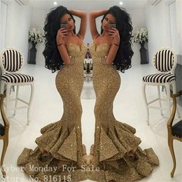 Wholesale Evening Gowns Tail - Gold Sequin Mermaid Long Evening Dresses Cheap Sparkly Formal Dress Spaghetti Strap Evening Dress Fish Tail Bling Evening Gowns