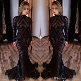 Wholesale Celebrity Dresses Bling - 2017 Michael Costello Long Sleeves Evening Dresses Bling Bling Black Sequins High Neck Mermaid Sexy Celebrity Gowns Pageant Prom Dresses
