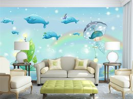 Wholesale Modern Swimming - 3D Stereo Underwater World Large Mural Kids Room KTV Theme Dolphin Wallpaper Bubble Swimming Pool Ocean Wallpaper
