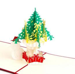 Tarjeta de patrones 3d online-Más reciente tarjeta de Navidad plegable hecha a mano en 3D Pop Up Kirigami tarjeta de felicitación de Navidad con envolver el árbol de Navidad Patrón de muñeco de nieve
