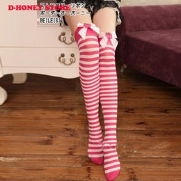 955cd74af Hot selling Bow stockings over the knee striped stockings female stockings  knee socks Christmas decoractions free shipping