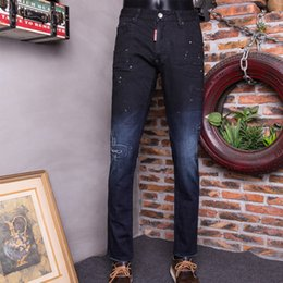 Wholesale Men Slim Fit Sexy Style - NALANXINDE2017 Spring New Fashion Men Pencil Holes Patch Waist Jeans Sexy Slim Skinny Pants Trousers Fit Jeans frayed Dark Blue 1838