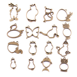Wholesale Jewelry Making Wholesale Cats - 16PCS Mixed Antique bronze Hollow butterfly rabbit cat owl Charms Pendant Jewelry Making Diy Charm Handmade Crafts H3006