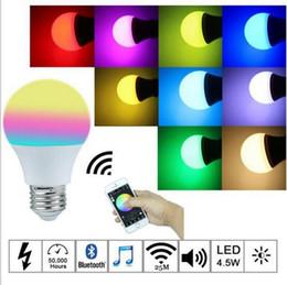Akıllı LED Ampul Kablosuz Bluetooth Ses Hoparlörler LED RGB Işık Müzik LED Ampul Lamba Renk App Kontrolü ile Değiştirme nereden bluetooth ile tedarikçiler
