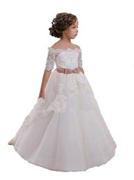 Wholesale Hottest First Communion Dresses - Hot Sale Lace Princess Girls Wedding Party Ball Gowns Hand Made Flower Girl Dresses Floor Length White First Communion Dresses High Quality