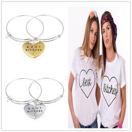 Wholesale Parts For Bracelets - New fashion 2pcs pr friendship bracelets femme paracord bracelet pulseras hombre best bitches 2 parts bracelets pulseras gift for woman