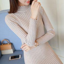 Wholesale Basic Mini Dress - Fashion Long Sleeve Knitted Winter Dress Women Office Sexy Ruffles Bodycon Basic Mini Solid Color Sweater Dress Robe Femme