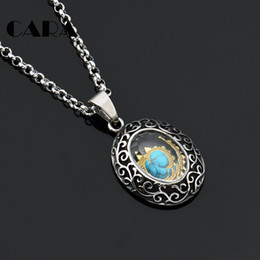 Wholesale Vintage Necklace Oval - CARA NEW Arrival Hollow out Vintage Stainless steel Oval Pendant necklace w  Green mable stone inside stylish necklace CAGF0322