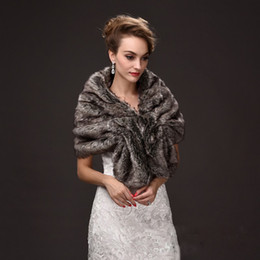 Wholesale Gray Fur Shawl - Warm Faux Fur Wedding Capes Black Gray Color Mixture Evening Dress Wraps for Women Bolero Mariage Winter Coat