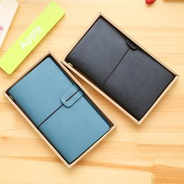 Wholesale Agenda Leather Cover - Wholesale- 48K PU Leather Cover Office Stationery Hardcover Notebook Periodical Planner Bandage Sketchbooks Notebooks for Agenda Diary