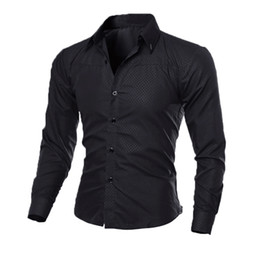 Wholesale Mens Long Sleeve Button Shirt - Wholesale- Luxury Mens Slim Fit Shirt Long Sleeve Dress Shirts Casual Formal Business Shirts Solid Brand Clothing camisa social masculina