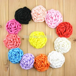 Wholesale Pick Hair - 20pcs lot 3 Inch Large Satin Rolled Rosettes Flowers girls DIY Hair Accessories U Pick Color FH39