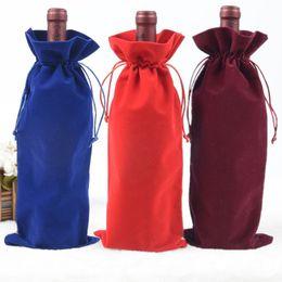 champagner-samt Rabatt Velvet Wine Bottle Covers Taschen Kordelzug Flanell Champagner Hochzeit Party Geschenk Verpackung Beutel Kostenloser Versand ZA4517