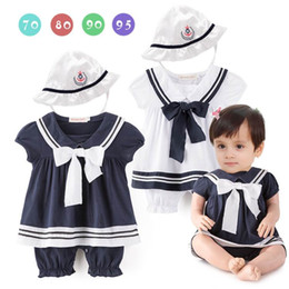 Wholesale Summer Baby Girl Sunhat - Summer New Baby Girls Navy Style Bow Rompers Short Sleeve Jumpsuits With Sunhat Toddler Clothes 0-12M E13610