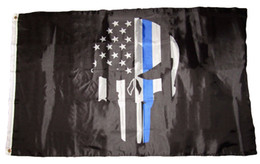Wholesale police flags - USA Police Punisher Skull Memorial Thin Blue Line Flag