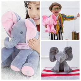 Wholesale Singing Plush Toys Wholesale - 3 Colors 30cm Plush Elephant Doll Peek A Boo Hide Seek Elephant Toy Sing Music Toys Ears Flaping Move Party Favor CCA7770 10pcs