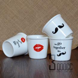 Wholesale Ceramic Coffee Mug Sets - Wholesale- free shipping - 4pc set Lips girl and Beard men cups Ceramic Eco Cup porcelain Mug Coffee Cup milk cup
