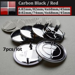 Wholesale Carbon Fiber Rear Wheel - 7pcs set epoxy PVC Front rear Emblem 82mm 74mm Wheel Hub Cap 68mm steering wheel sticker 45mm for carbon Fiber black red logo label badge