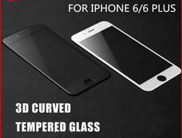 Embalagem de fibras on-line-3d cobertura completa borda curvo tela de fibra de carbono de vidro temperado protecto para iphone7 7 plus 6 6 plus com pacote de varejo