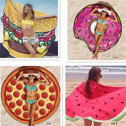 Wholesale Cute Beach Towels Wholesale - Cute Round Polyester Beach Shower Towels Blanket Yoga Towel Skull Ice Cream Strawberry Smiley Emoji Pineapple Pie Watermelon Towel Newest