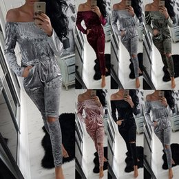 Wholesale Led Jumpsuits - New Pattern One Word Lead Sexy Bandage Lin Tai Underwear Suit-dress bodycon jumpsuits off shoulder rompers bodysuit women 2 piece Fashion