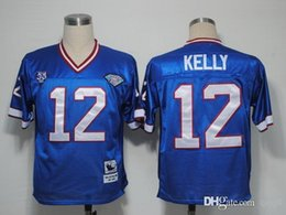 Wholesale Reeds Throwback Jersey - Top Quality ! Cheap Throwback Jerseys #12 Jim Kelly 34 Thurman Thomas 78 Bruce Smith 83 Ander Reed White Blue M&N Jerseys Mix Order !