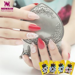 Wholesale Decorating Tip - Wholesale- New 24pcs Stiletto False Nails with Designs Full Cover Fake Nails Acrylic Nail Art Tips Fuax Ongles Women Gift Decorated Nail