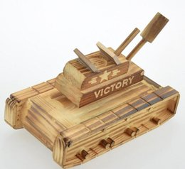 Wholesale Wooden Military Toys - Wooden music tanks modeling excavator wooden children toys tank Decoration crafts gifts military model Built-in Music Box