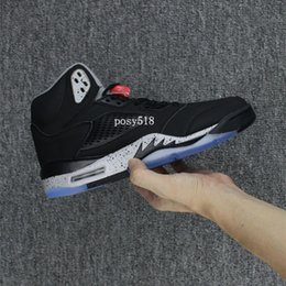 Wholesale Mens Leather Suits - 2017 New 5 Black Cement 5s Flight Suit Blue Suede Basketball shoes men High Quality Mens Sports Sneakers With Shoes Box