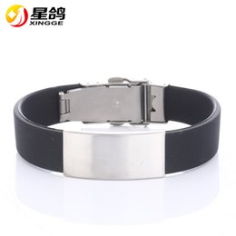 Wholesale Wholesale Asian Products - New Products Fashion Style Men's stainless steel bracelet Silicone bracelets jewelry Smooth patterns Wrristband accessories Free Shipping