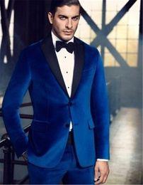 Wholesale Gold Skinny Tie - Wholesale- High Quality Royal Blue Velvet Man Blazer Groom Tuxedos Men's Prom Dress Suits (Jacket+Pants+Bow Tie)