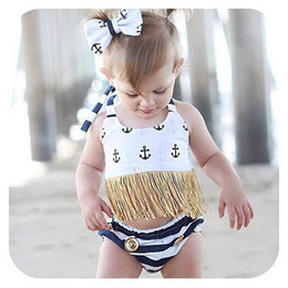 Wholesale Hot Bikini Baby - Ins Hot 2017 Childrens Two Pieces Swimsuits Baby Girl Halter Tassel Tops with Striped Short pants Babies Summer Fashion Bikini