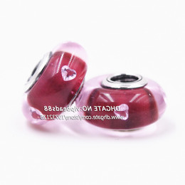 Wholesale Love Rose Flower Glass - New jewelry Rose red love CZ Murano Glass Beads Fit European DIY pandora Charm Bracelets & Necklace ZS340