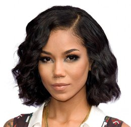 Wholesale Wavy Short Wig - Short Bob Wigs Brazilian Virgin Human Hair Glueless Lace Front Wigs Virgin Hair Cuts Cheap Wavy Wig