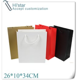 Wholesale Hand Bags Shoes - Wholesale- 26*10*34CM 10pcs Art Paper Hand Length Handle custom personalized clothes shoes shopping paper bag