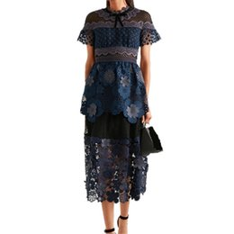 Wholesale lace crochet hook - US UK self portrait 2018 New Summer Cloak sleeves Lace dress crochet Hook flower Mid-calf A line Runway dress vestido feminino