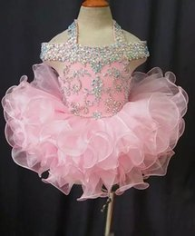 Wholesale Real Image Beaded Mini Dress - 2017 Toddler Pageant Dresses Pink Organza Cupcake Kids Prom Gowns Crystal Beaded Open Back With Bow Formal Little Girls Birthday Party Dress