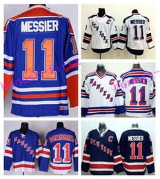 Wholesale Jersey Color Blue - New York Rangers Throwback 11 Mark Messier Ice Hockey Jerseys Stadium Series Team Color Navy Blue White Beige Alternate Best Quality