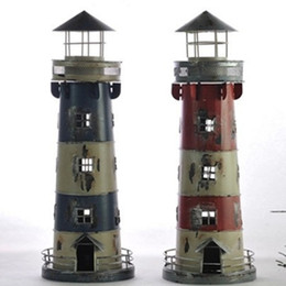 Wholesale Holders Wrought Iron - Mediterranean Candle Holders Retro lighthouse candlestick Style Wrought Iron Creative nostalgicBar Home decoration