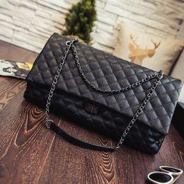 Wholesale Quilted Leather Handbag Black - jumbo flap bag women leather handbag 2016 fashion handbag chain shoulder bags lattice quilted crossbody travel sac caviar bag