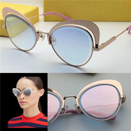 Wholesale Cat Butterfly Crystal - New luxury women brand designer sunglasses FF EYEHINE cat eye metal ultra-light frame outdoor summer style crystal lens uv400 lens