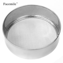 Wholesale Stainless Steel Flour Sieve - Wholesale- Facemile Stainless steel sieve cup screen mesh powder flour sieve tamizadoras harina taza cake decorating tools 03048