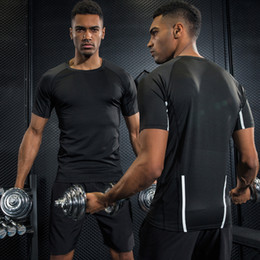 Wholesale High Weight Shorts - High Quality Compression Shirt Fitness Tights Quick Dry Short Sleeve T Shirt Base Layer Skin Tight Weight Lifting Running T Shirts S-XXL