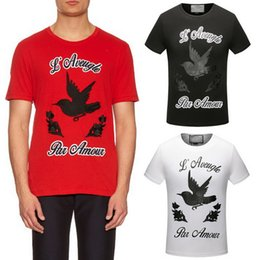 Wholesale Shirts Brands Logo - Men's T-Shirt Bird Embroideried Floral Letter Printed Pure Cotton Round Neck Shortsleeve Fashion Brand Logo T Shirt 2017 NEW