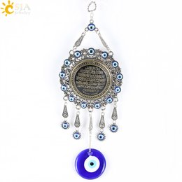 Wholesale Eye Pendants - CSJA Trendy Islamic Quran Koran Pendulum Hanging Pendants Turkey Evil Eye Blue Muslim Religious Charms Amulet Big Jewelry E287