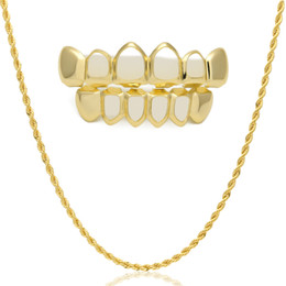 Wholesale Gold Rope China - Hip Hop Custom Fit Gold Color Teeth Four Hollow Open Face Gold Mouth GRILLZ Caps Top & Bottom Grill set with Rope Chain