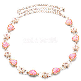 Wholesale Gold Chain Belts For Women - Wholesale- Sparkle Love Heart Flower Crystal Women's Body Jewelry Belly Waist Chain Belt Gold for Dress Decor